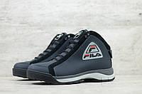 Мужские зимние ботинки на меху в стиле Fila, кожа, шерсть, полиуретан, синие *** 40 (26,4 см)
