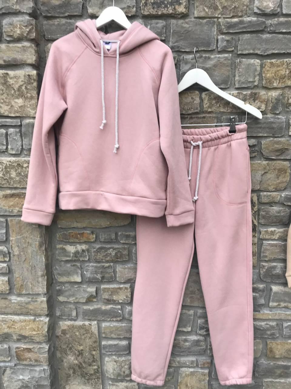 Спортивный УТЕПЛЁННЫЙ женский костюм - розовый Оптом
