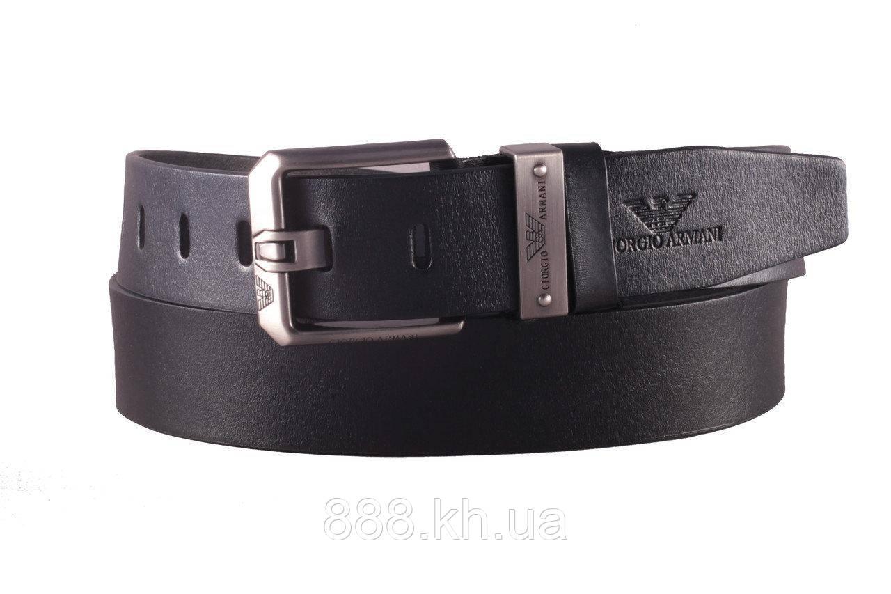 Мужской кожаный ремень Armani, черный ремень