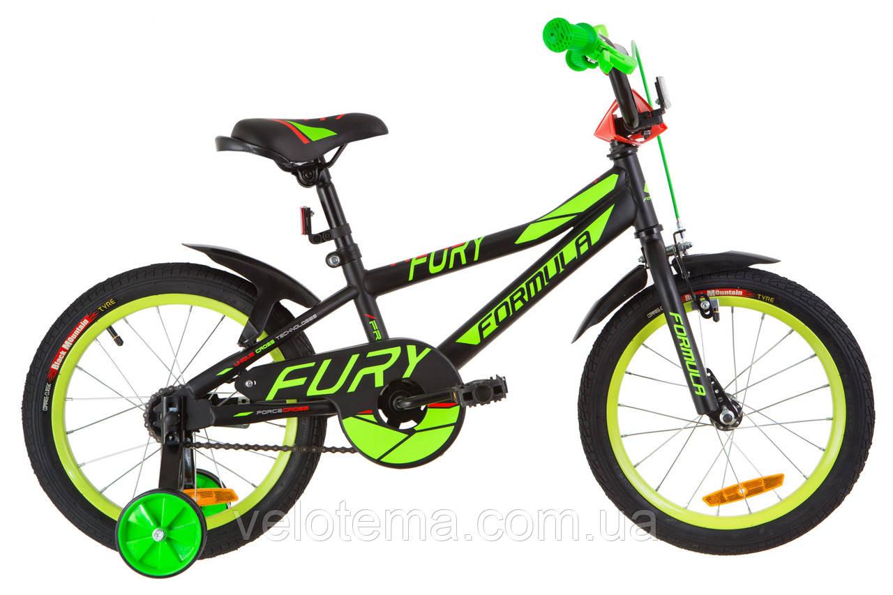 """Дитячий Велосипед 16"""" Formula FURY 14G рама-8,5"""" St чорно-зелений з червоним (м) з крилом Pl 2019"""