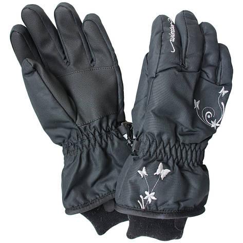 Зимние непромокаемые перчатки термо для девочки 6-10 лет черные, фото 2