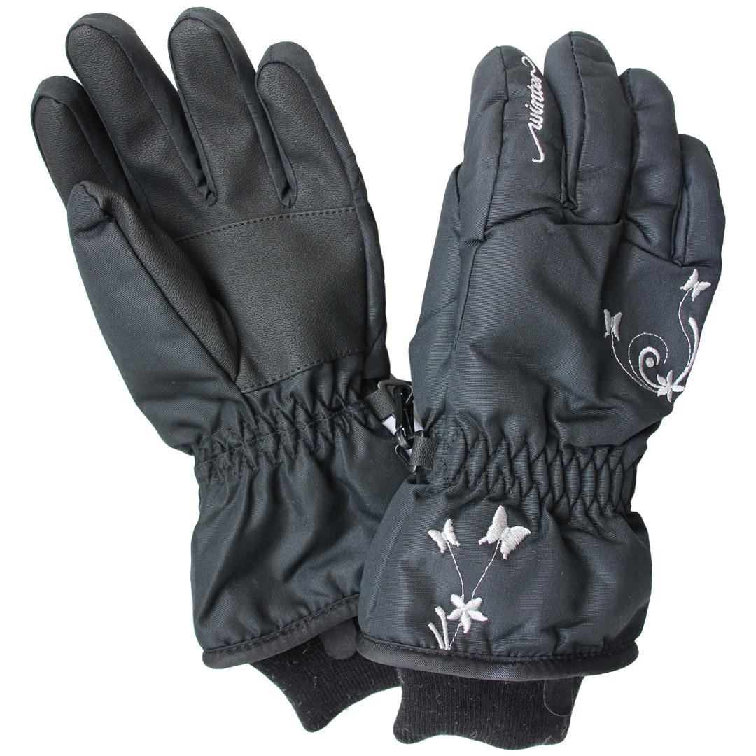 Зимние непромокаемые перчатки термо для девочки 6-10 лет черные