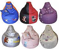 Бескаркасное кресло груша-мешок пуф детский с вышивкой имени