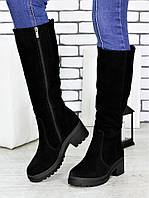 Сапоги женские замшевые Паула - удобные модные сапоги из натуральной замши черного цвета