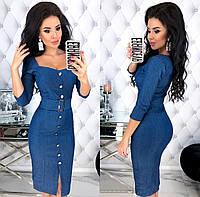 Женское облегающее платье из стрейч джинса с широким поясом с 42 по 48 рр
