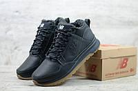 Мужские зимние ботинки на меху в стиле New Balance, кожа, полиуретан, черные *** 40 (26 см)