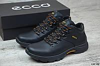 Мужские зимние ботинки на меху в стиле Ecco, кожа, шерсть, полиуретан, черные *** 42 (28 см)
