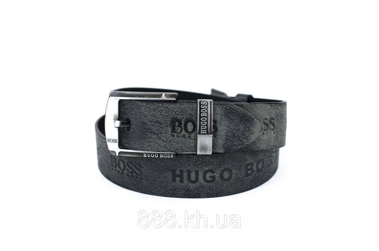 Мужской кожаный ремень Hugo Boss, черный ремень