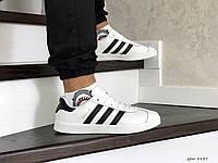 Мужские кроссовки Adidas Gazelle,белые с черным