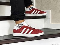 Мужские кроссовки Adidas Gazelle,замшевые,красные