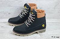 Женские зимние ботинки на меху в стиле Timberland, кожа, полиуретан, черные 36 (23,3 см)