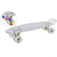 Скейт Пенни Борд (0855) Прозрачно Белый, свет в колесах