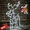 """Фигура """"Новогодний Олень"""" светящийся (синий,желтый,белый,мульти), из дюралайта (маленький)"""