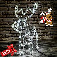 """Фигура """"Новогодний Олень"""" светящийся (синий,желтый,белый,мульти), из дюралайта (маленький), фото 1"""