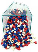 Посыпка звезды белые, синие, красные 50 грамм, фото 1