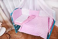 Комплект постели  с бортиками и балдахином в кроватку для девочек