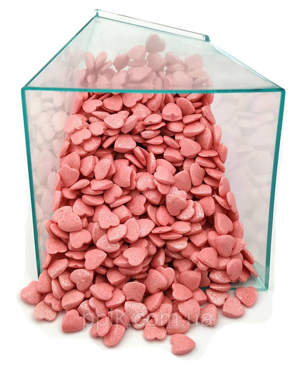 Посыпка Сердечки розовые перламутровые 50 грамм, фото 1