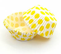 Тарталетки (капсулы) бумажные для кексов, капкейков Белые в желтый горох, фото 1