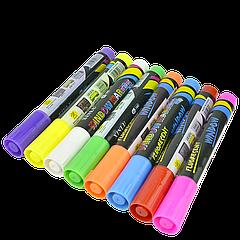 Маркеры меловые Xinlu Window флуоресцентные,набор (8 цветов)