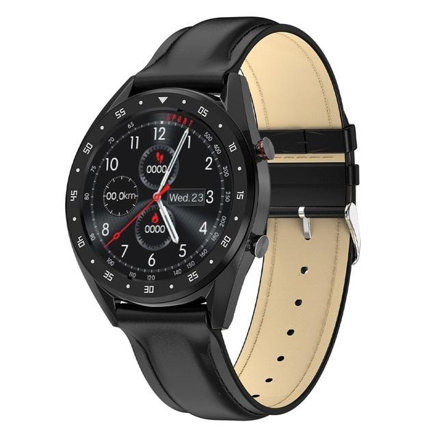 Смарт-часы Microwear L7 с ЭКГ и тонометром - Черный корпус, черный кожаный ремешок