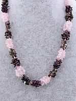 077331 Бусы  Розовый кварц,Турмалин,Гранат 65 см.