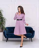 Платье Кубик с поясом (материал ангора), цвет фрезовый