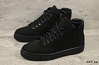Мужские зимние ботинки на меху в стиле Zangak, нубук, шерсть, полиуретан, черные *** 40 (26,4 см)