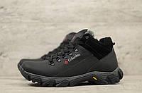 Мужские зимние ботинки на меху в стиле Columbia, кожа, шерсть, полиуретан, черные *** 40 (26 см)