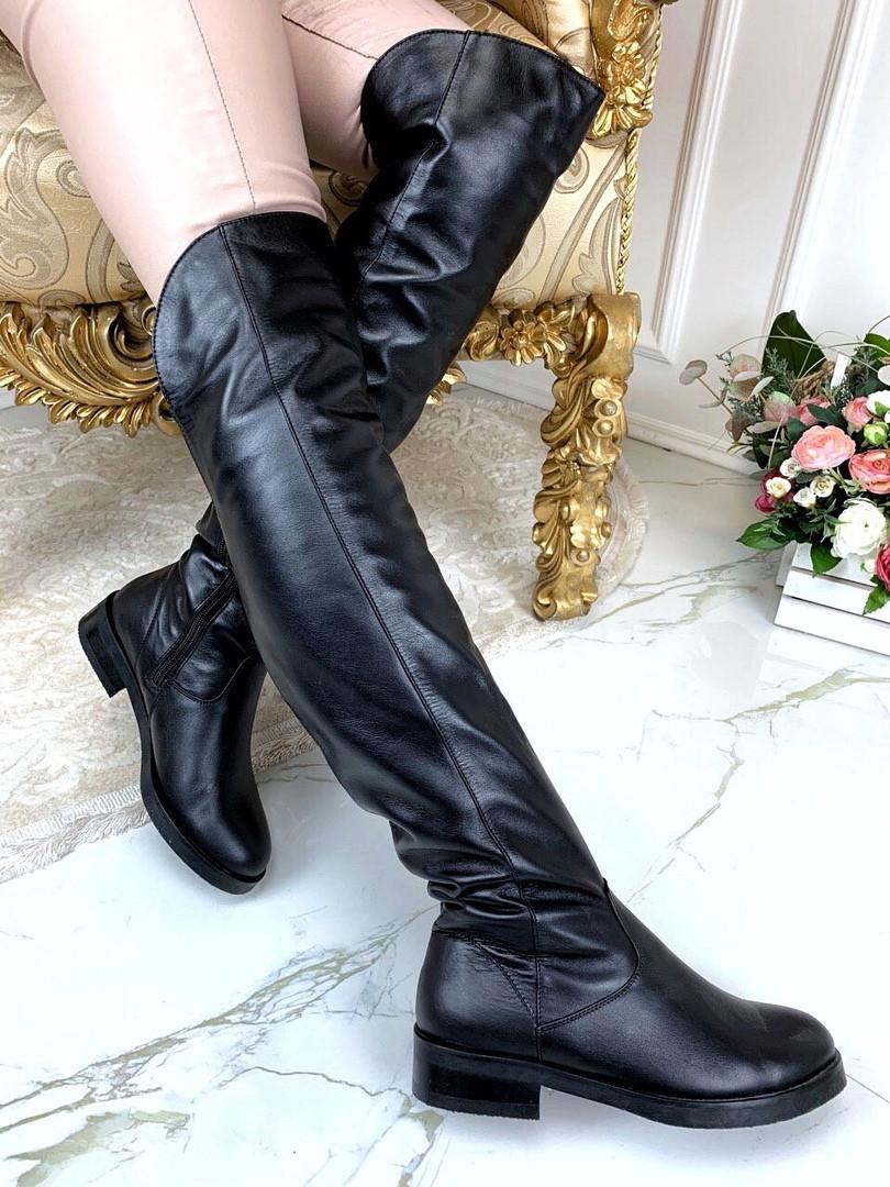 Стильные кожаные ботфорты . Цвет: черный :натуральная кожа В наличии и под заказ
