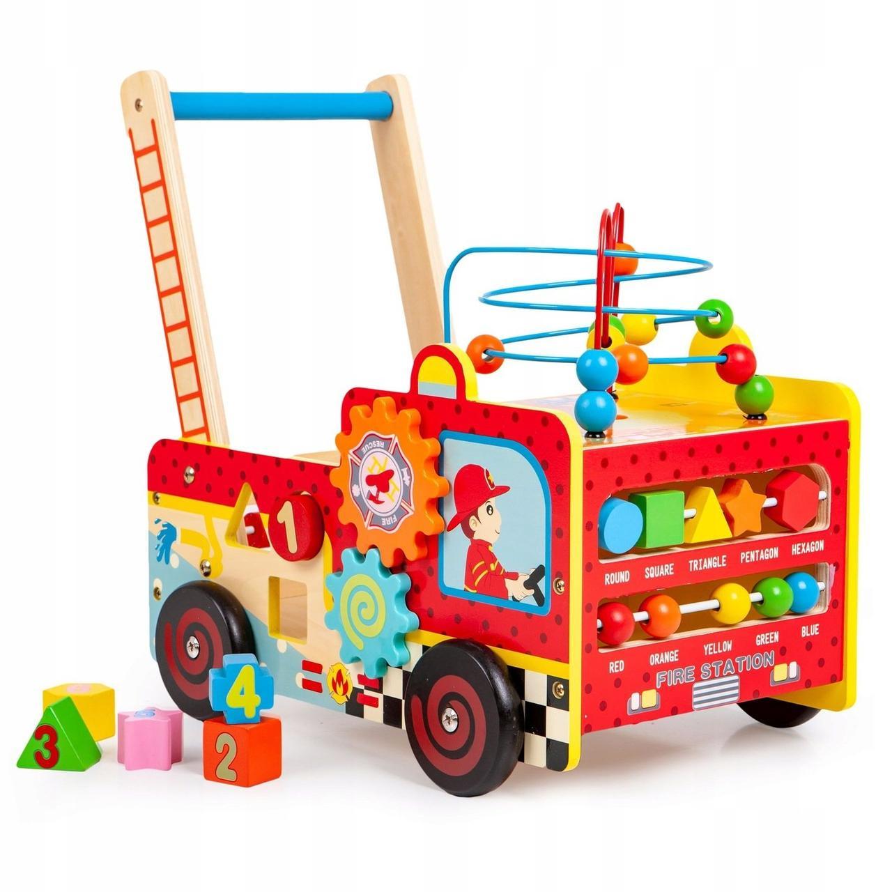 Деревянные развивающие ходунки каталка для детей Пожарный автомобиль EcoToys