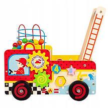 Деревянные развивающие ходунки каталка для детей Пожарный автомобиль EcoToys, фото 2