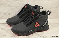 Мужские зимние ботинки на меху в стиле Reebok, кожа, шерсть, полиуретан, черные *** 42 (28 см)