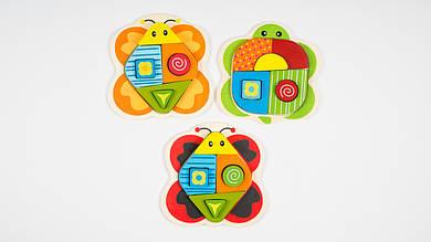 Деревянная головоломка - сортер.5287.В виде бабочки.3 вида