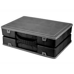Двойной органайзер для инструментов 355х250х110 мм с крышкой Organize 024500 черный R176164