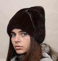 """Женская вязанная норковая шапка """"Кися стразы"""""""
