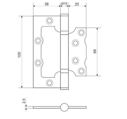 Петля накладна APECS 100*75*2,5-B2-V2-Steel-NIS (комплект 2 шт), фото 2