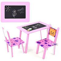 """Детский столик + 2 стула Toys """"Котик"""" (065) Розовый"""