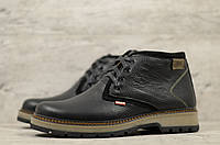 Мужские зимние ботинки на меху в стиле Levis, кожа, шерсть, полиуретан, черные *** 40 (26,4 см)