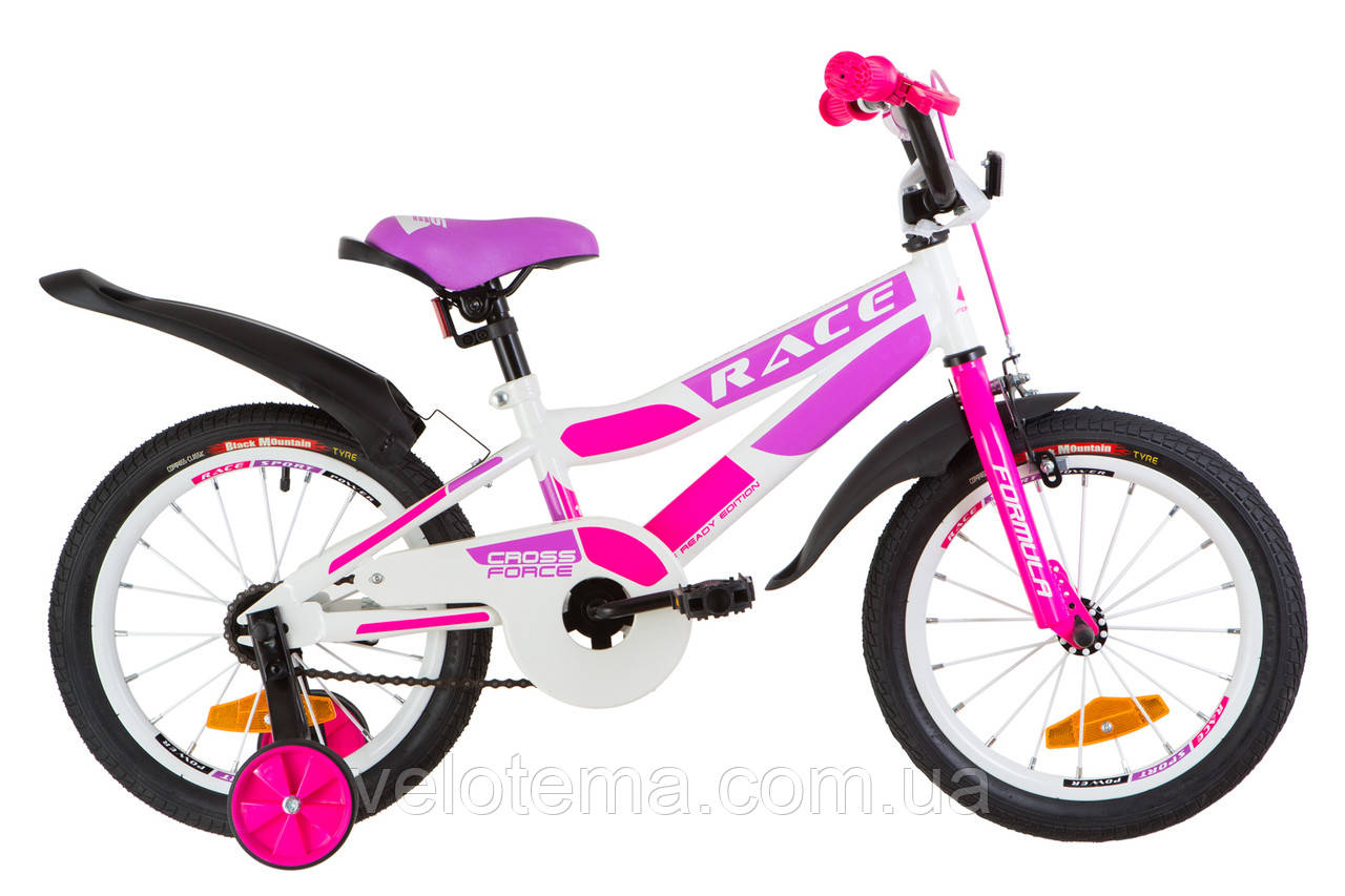"""Детский Велосипед 16"""" Formula RACE  усилен.   рама-9"""" St бело-малиновый с фиолетовым  с крылом Pl 2019"""