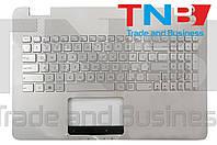 Клавиатура ASUS N551 N552 R555 G551 GL551 серебристая с топкейсом + подсветка RUUS