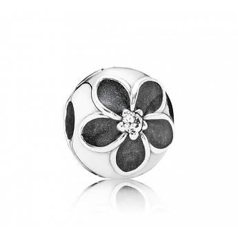 Клипса «Цветы» из серебра 925 пробы в стиле Pandora