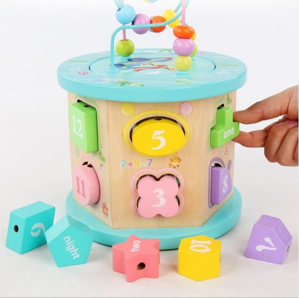 """Деревянная развивающая игрушка """"Сотер"""" ведро, логика с 12-ю геометрическими фигурами"""