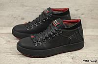 Мужские зимние ботинки на меху в стиле Zangak, кожа, шерсть, полиуретан, черные *** 41 (27 см)