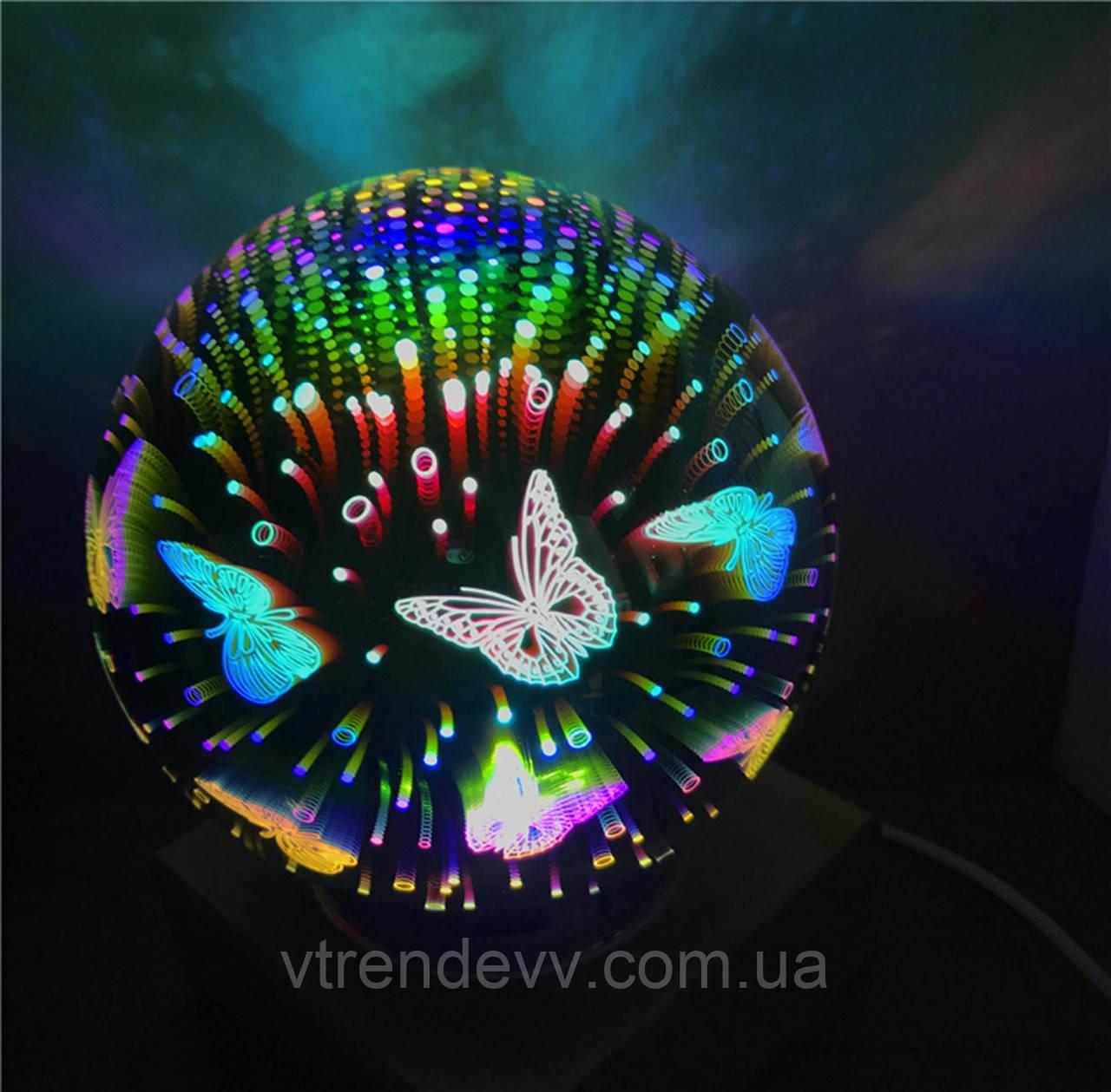 Ночник шар бабочки стеклянный светильник Luminaria Portatil Infantil USB 12 см