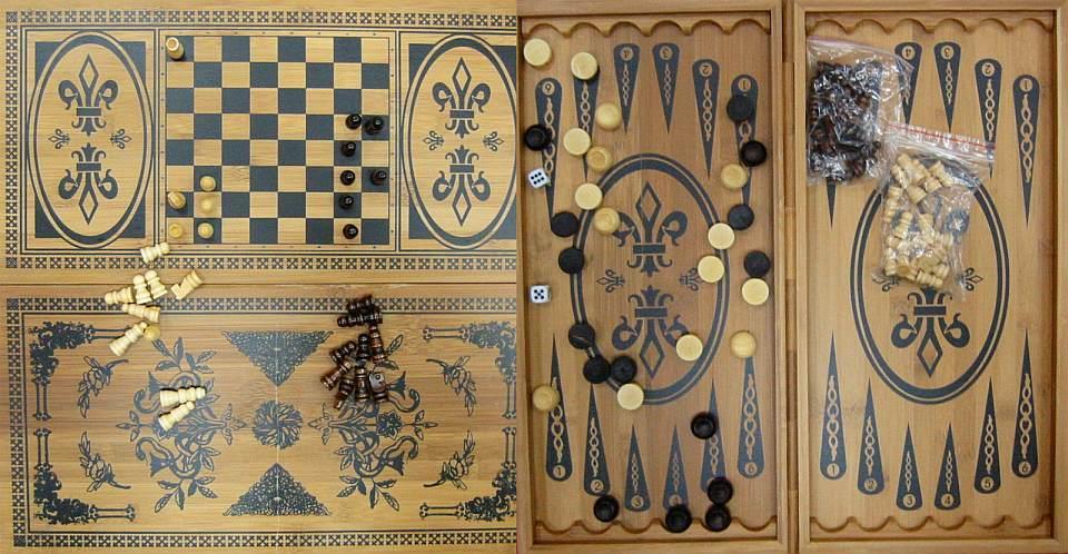 Нарды, шахматы из бамбука (60х60см) (Fine)