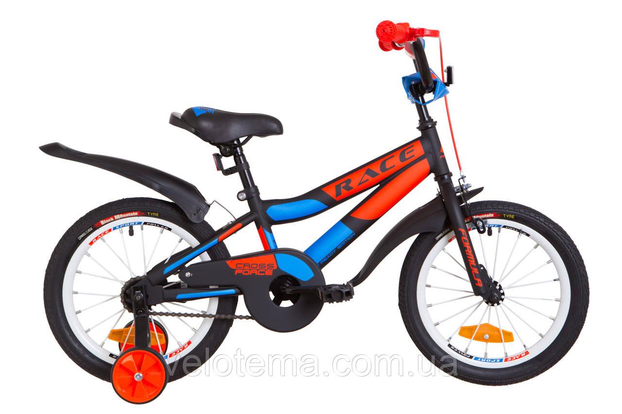 """Детский Велосипед 16"""" Formula RACE  усилен.   рама-9"""" St черно-оранжевый с синим (м)  с крылом Pl 2019"""
