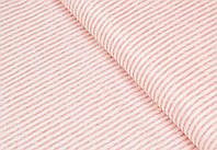 Сатин-твил Полоски персиково-розовые
