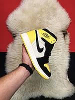Мужские кроссовки Nike Air Jordan Retro 1 Yellow Black x Off White / Найк Аир Джордан Ретро, Офф Вайт