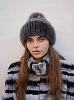 "Женская зимняя вязанная шапка ""Ажур"""