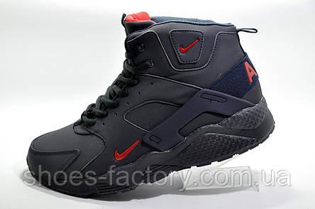 Зимові кросівки в стилі Nike Air Huarache Ultra Mid Lea, на хутрі, фото 2